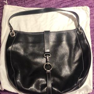 Marc Jacobs Black Hobo Bag with pink stitching